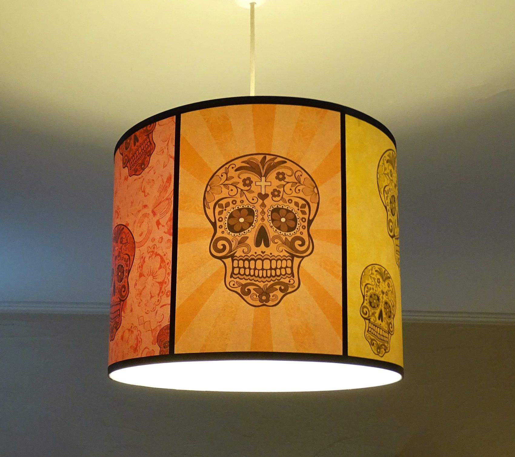 Rainbow Sugar Skulls Hanging Lampshade  35 Cm By Spooky