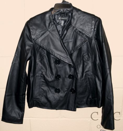 INC NEW Black Faux Leather Double Breasted Crop Motorcycle Jacket Coat Medium