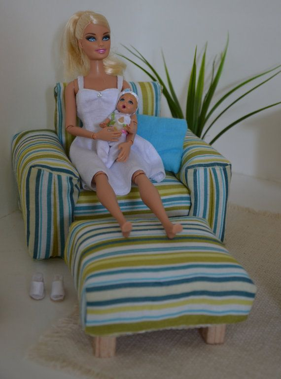 Handmade miniature doll chair with ottoman in 1/6 scale for Barbie, Blythe, Momoko, Fashion Royalty, and other playscale figures by FashionDollStore.