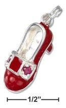 Sterling Silver Charm Red High Heel Shoe With Red Crystals #loversleap