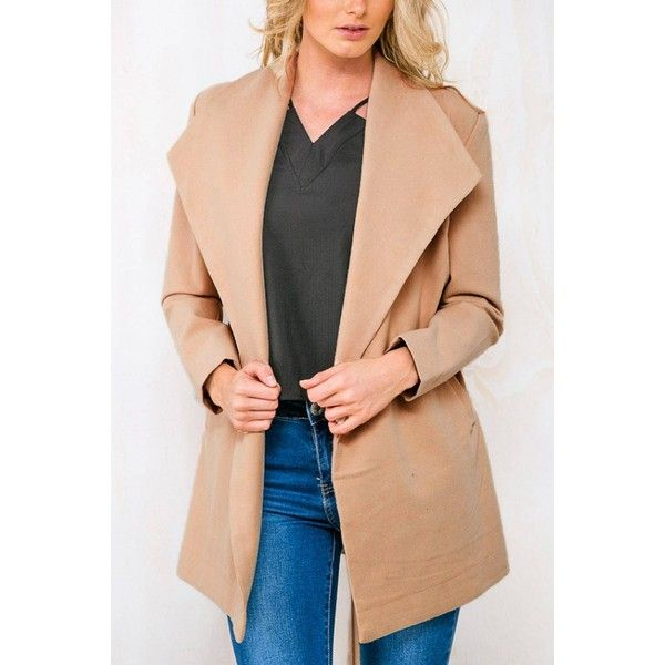 Yoins Khaki Lapel Collar Duster Coat ($55) ❤ liked on Polyvore featuring outerwear, coats, coats & jackets, khaki, red wool coat, red coat, wool duster coat, tie belt and red duster coat