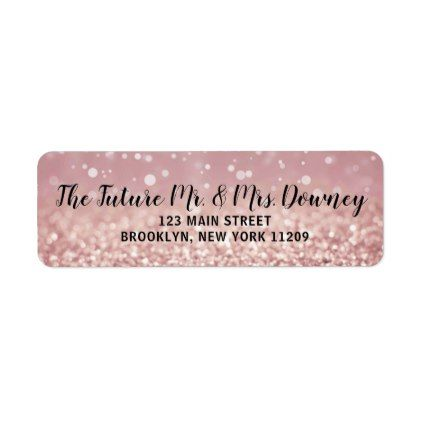 Rose Gold Wedding Return Address Labels  Script Gifts Template