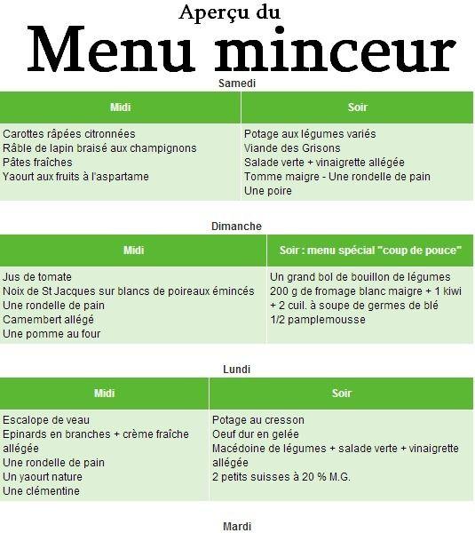 menu pour maigrir en hiver