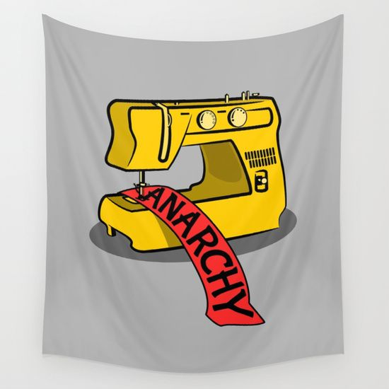 Anarchy Sewing Machine Wall Tapestry by Mailboxdisco