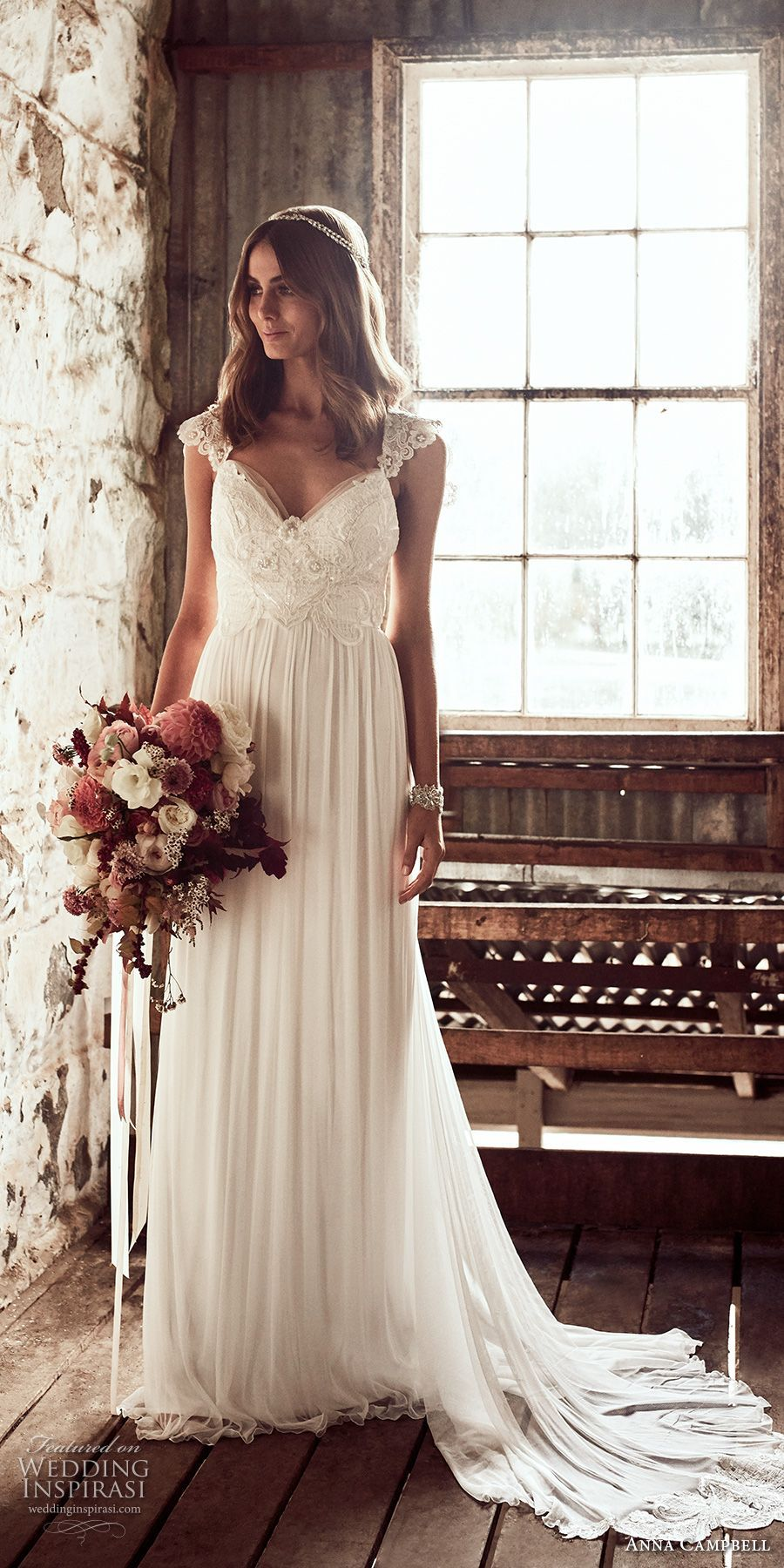 Lace cap sleeve a line wedding dress  anna campbell  bridal cap sleeves sweetheart neckline heavily
