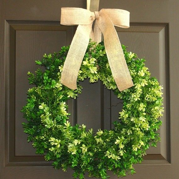 Superb Spring Wreath Large Boxwood Wraths Easter Wreath Front Door Wreaths Burlap  Year Round Wreath Spring  F52742 (570×570) | Wreath~Στεφάνια ✿ |  Pinterest ...