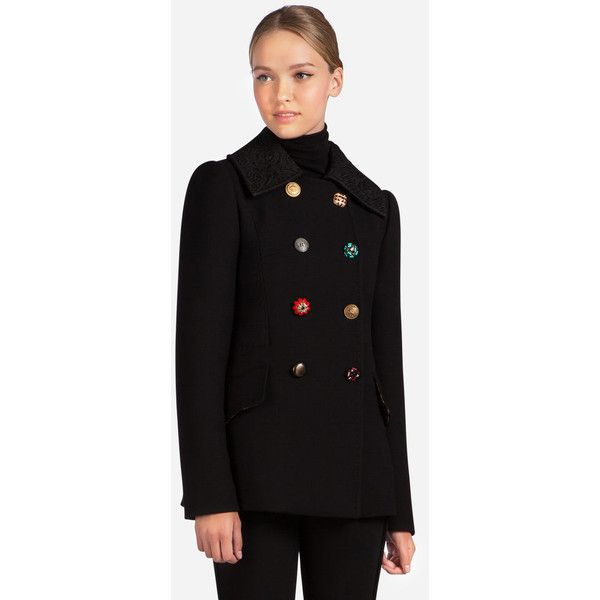 f37fb03920b Dolce & Gabbana Double-Breasted Wool Peacoat With Bejeweled Buttons  ($2,675) ❤ liked