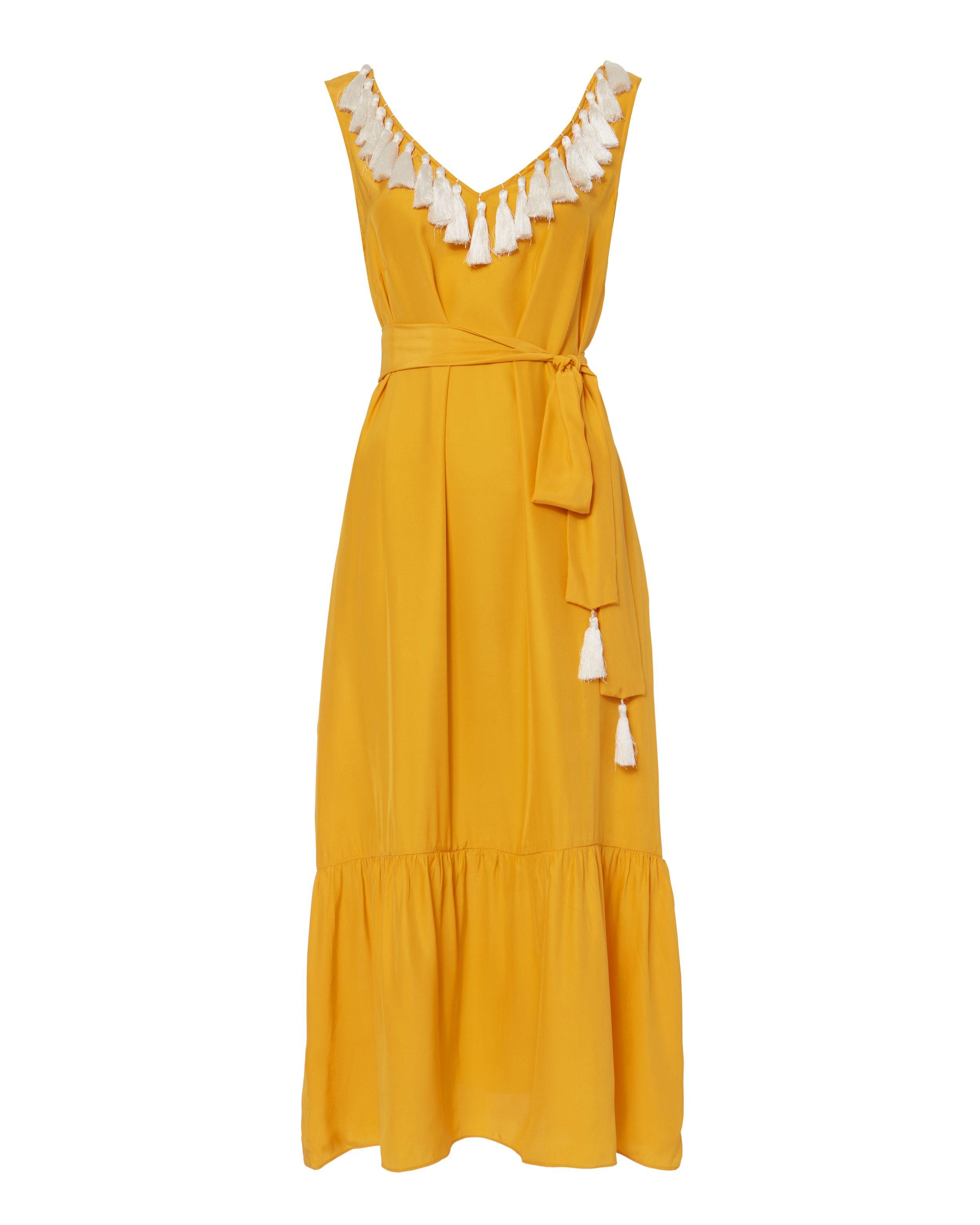 1ac4d7e222 Tasseled V-Neck Maxi Dress | Fashion x Pom Poms & Tassels in 2019 ...