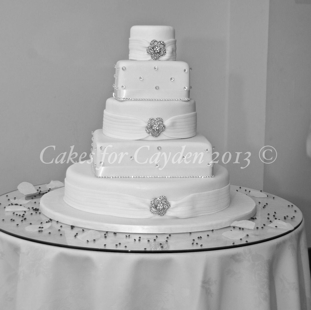 "5 tier ""Gemma"" Wedding Cake Alternative round and square"