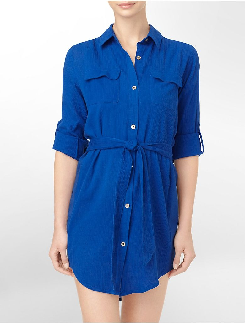Shirt dress roll-up sleeve cover up in blue by Calvin Klein $78  #CK #CalvinKlein
