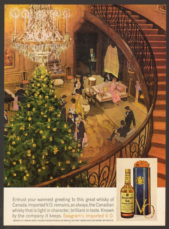 1962 Seagrams VOWhiskey Vintage Print Ad Christmas Tree Holiday