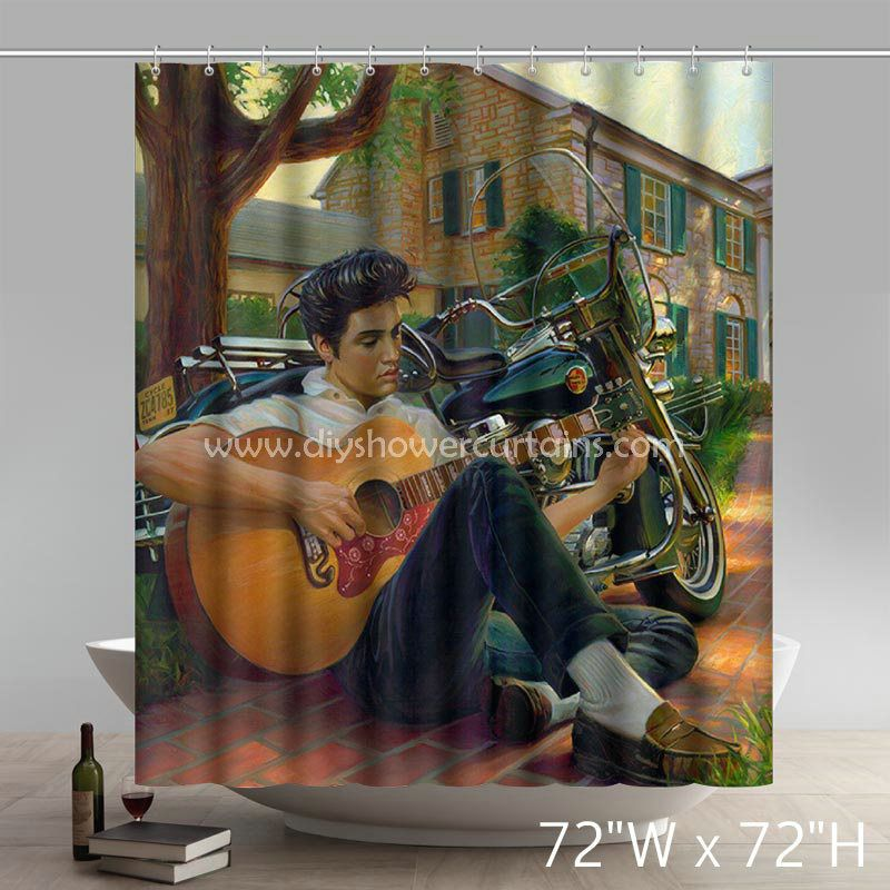 Movie Stars Elvis Presley Guitar Boy Bathing Shower Curtains