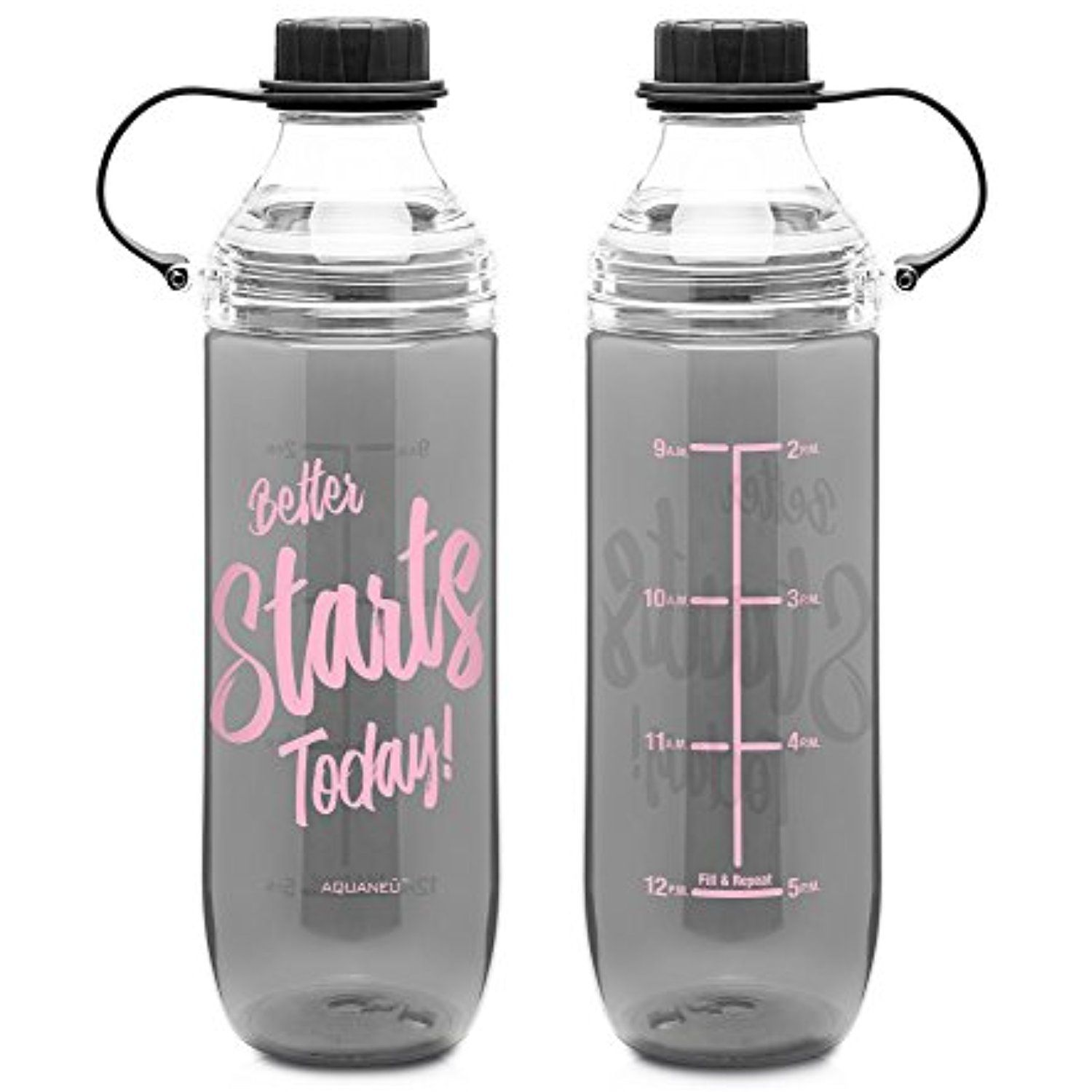 7590e5c434 28 oz Inspirational Fruit Infuser Water Bottle with Measurements | Goal  Marked Times For Measuring Your