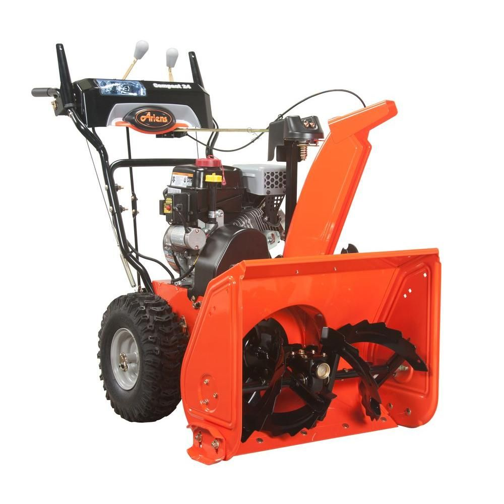 Ariens Compact 24 In Two Stage Electric Start Gas Snow Blower 920021 The Home Depot Gas Snow Blower Snow Blower Snow Equipment