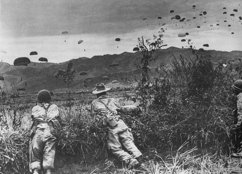 Supplies being dropped for the surrounded French garrison at Dien Bien Phu, 1954