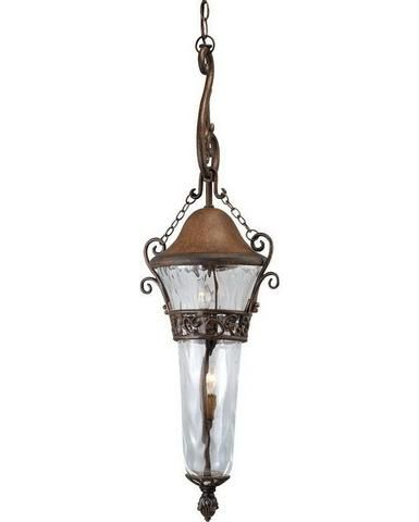 Kalco lighting 9418 wt three light outdoor exterior hanging pendant lantern in walnut finish