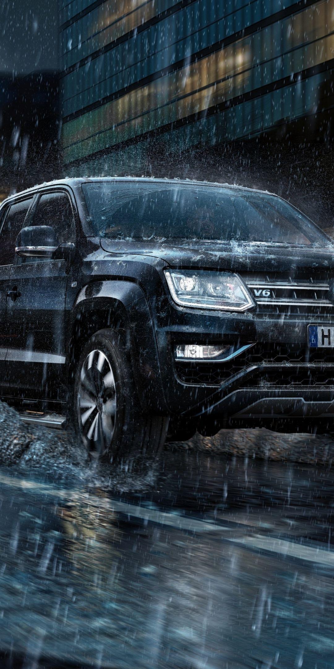 1080x2160 Rain On Road Volkswagen Amarok Wallpaper Wallpaper