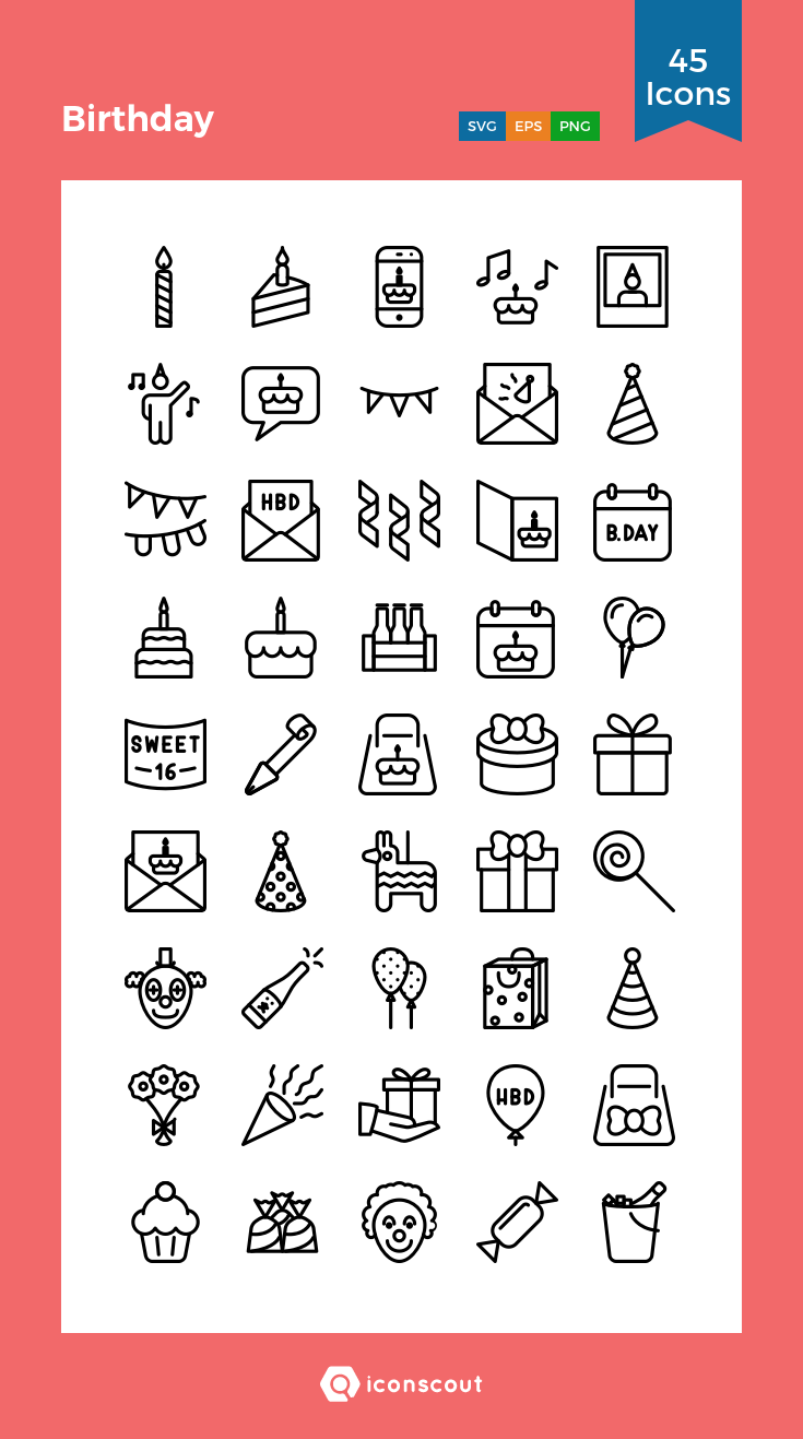 Birthday Icon Pack 45 Line Icons Bullet Journal Icons Birthday Icon Bullet Journal Ideas Pages
