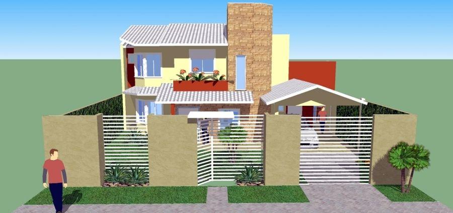 Fachada frontal com grades e muros id ias para for Casa moderna 2019