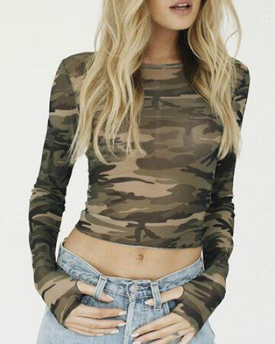 Camo see through crop top long sleeve t shirt with thumb holes for women