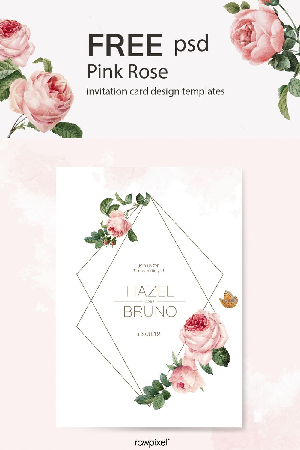 Download this elegant set of floral invitation card design vectors and many more mockups also rh pinterest