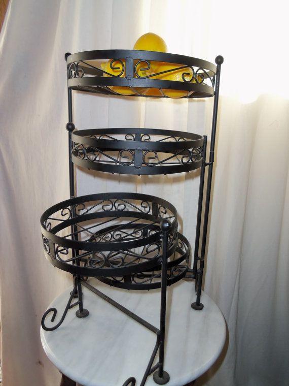 Wrought Iron Fruit Stand 3 Tier Baskets Or Garden Decor On Ornate Farmhouse Decorum