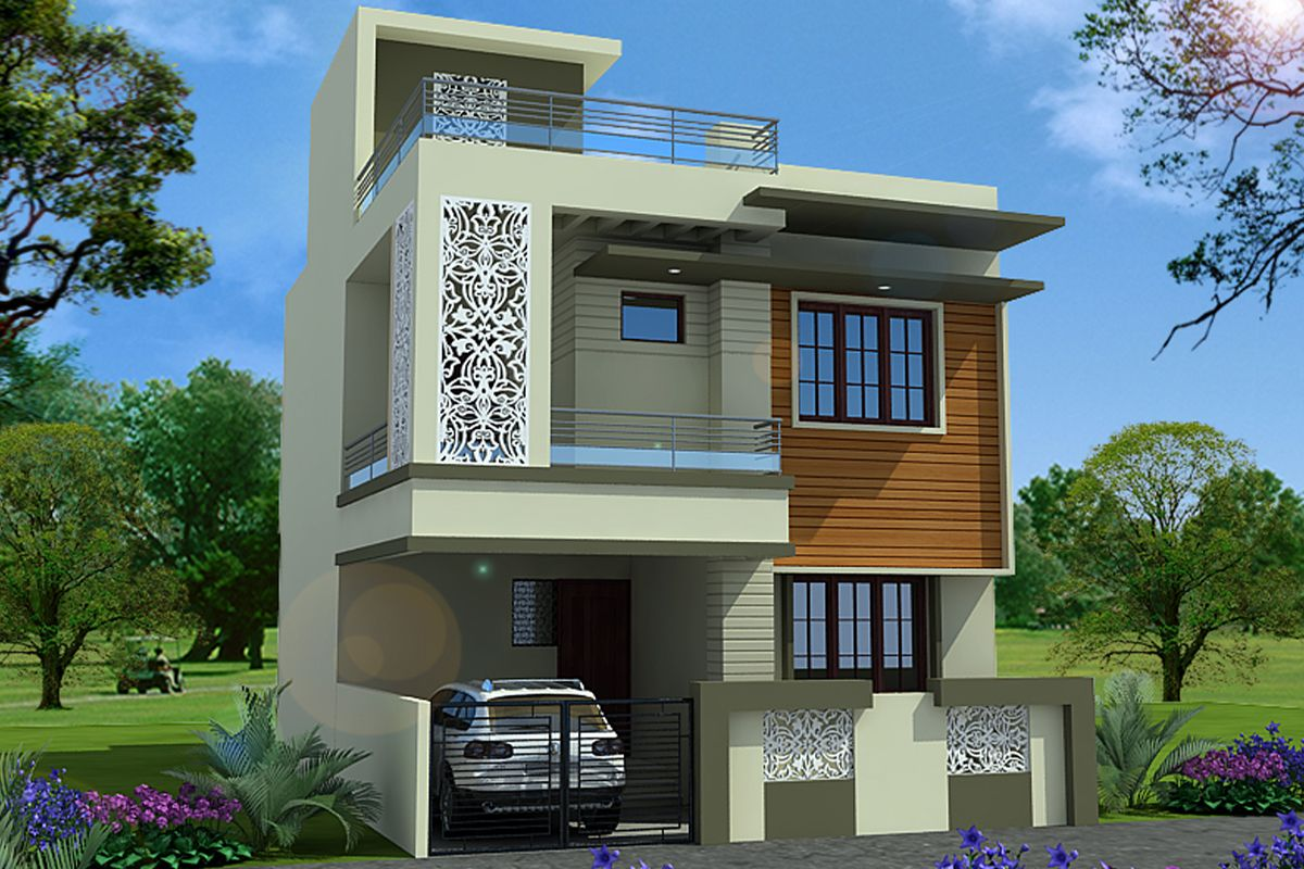 House plan house elevation indian compact house - Exterior designs of houses in india ...