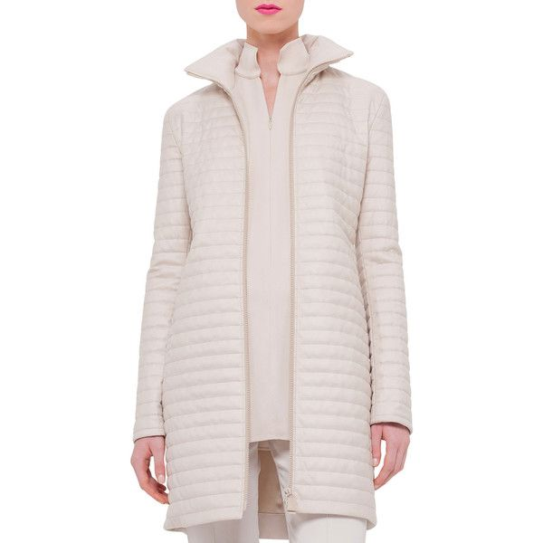 Akris Quilted Cashmere Zip-Front Coat ($1,996) ❤ liked on Polyvore featuring outerwear, coats, ranunculus, slim fit coat, fur-lined coats, longline coat, slim coat and quilted coat
