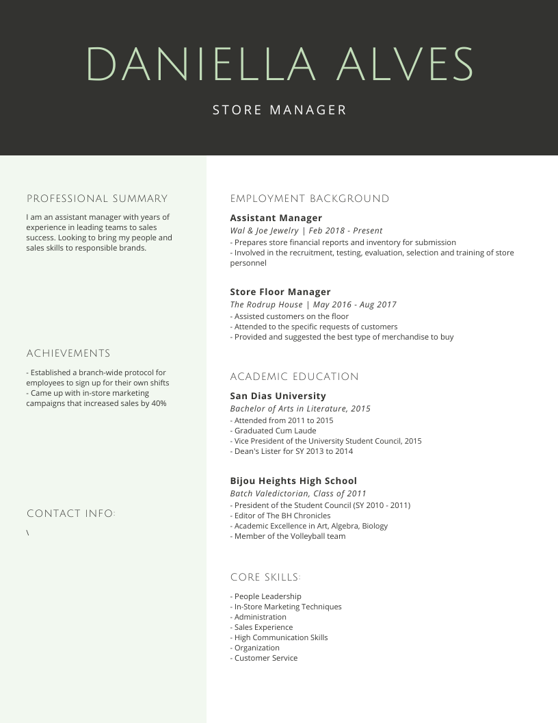 Premium Resume for a Store Manager in 2020 Sales skills