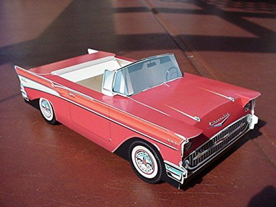 6 Classic Chevrolet Cardboard Cars Kids Food Box Tray Table Center Party Planner