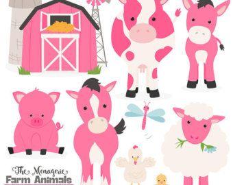 Premium Hot Pink Farm Animals Clip Art Vectors Pink Farm Animals Clipart Farm Animal Vectors Barn Yard Clipa Chicken Clip Art Farm Animals Animal Clipart