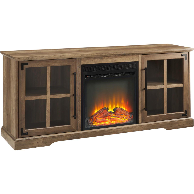 Walker Edison W60fpabgro 60 2 Door Fireplace Tv Stand Console