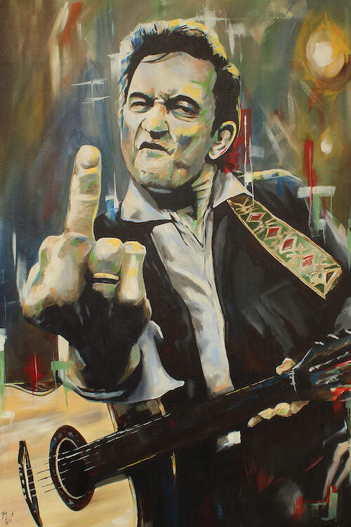 Hello I M Johnny Cash Canvas Art Print By Mark Fox Icanvas Johnny Cash Art Music Canvas Art