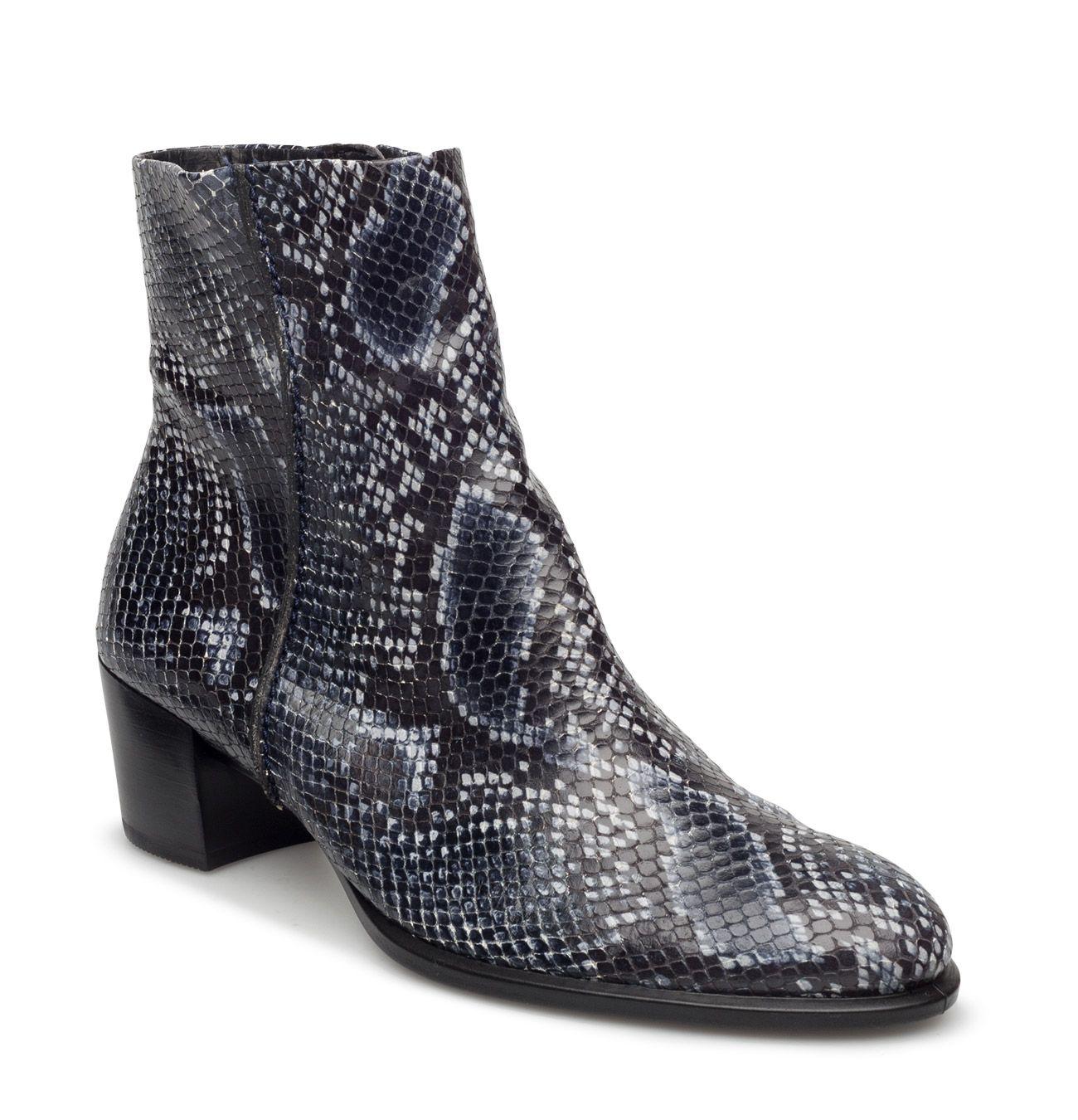 d934b796ec ECCO SHAPE 35 Snake Skin Style Boots Black/Blue | Made for Walkin ...