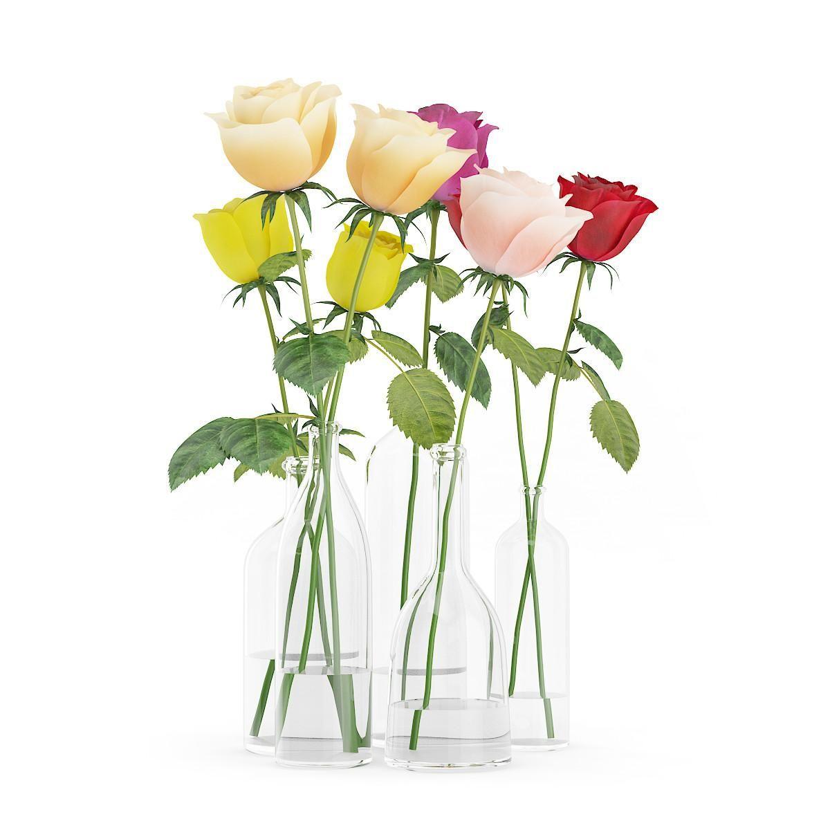 Roses In Glass Vases 3d Model Ad Glass Roses Model Vases Glass Vase Vase Rose Decor