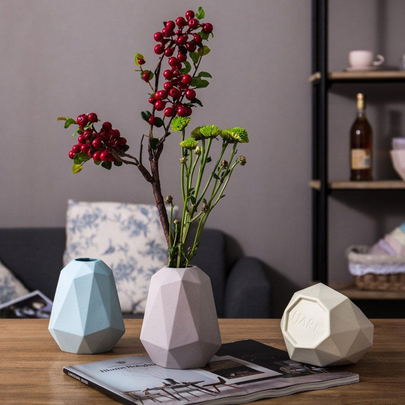 Faceted Ceramic Flower Vase