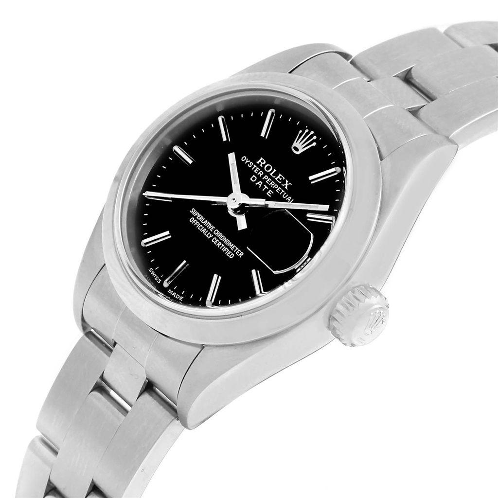 c5a1ddf024ee8 17817 Rolex Date Black Dial Oyster Bracelet Steel Ladies Watch 79160 Box  SwissWatchExpo