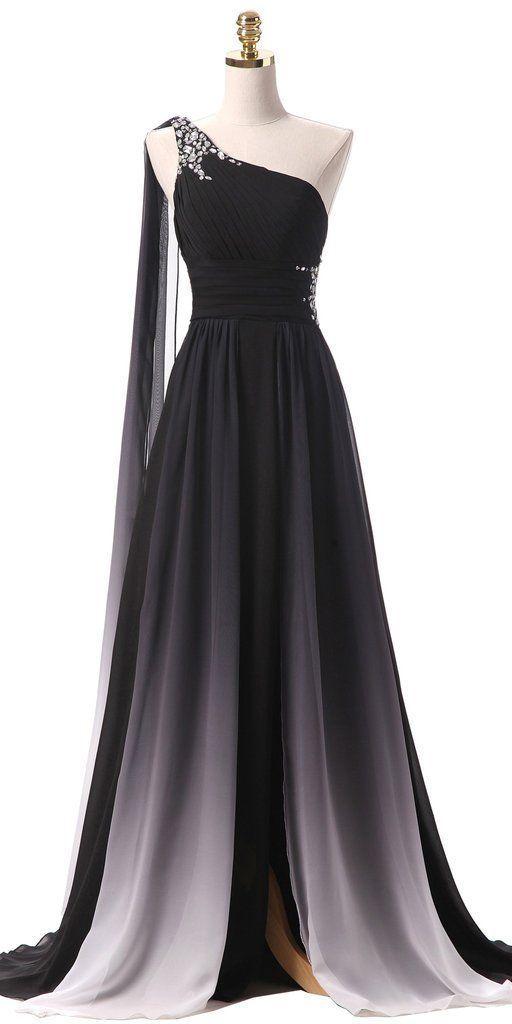 Sexy Seitenschlitz Farbverlauf Prom Kleid mit Perlen nach Maß eine Schulter Chiffon Abendkleid #schooldancedresses