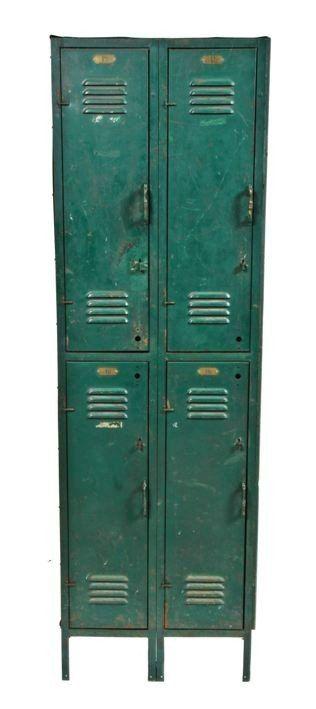 1920's vintage . industrial . green enameled steel . locker...