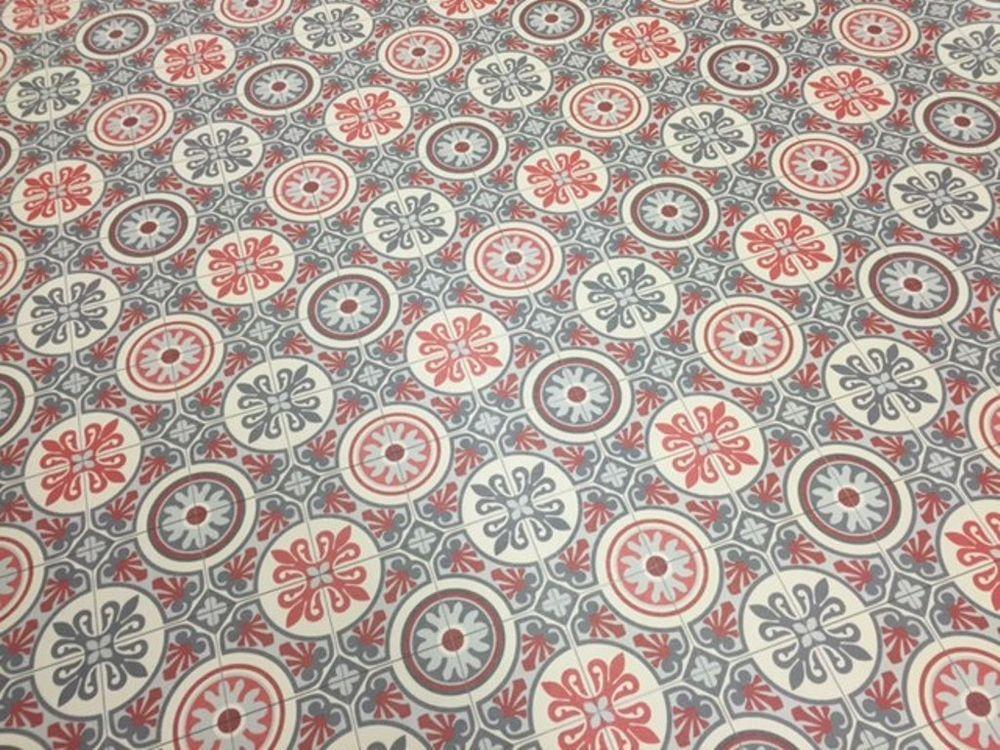 Details zu PVC Bodenbelag Fliesen Kacheln rot\/grau Retro 400 cm - alternative zu küchenfliesen