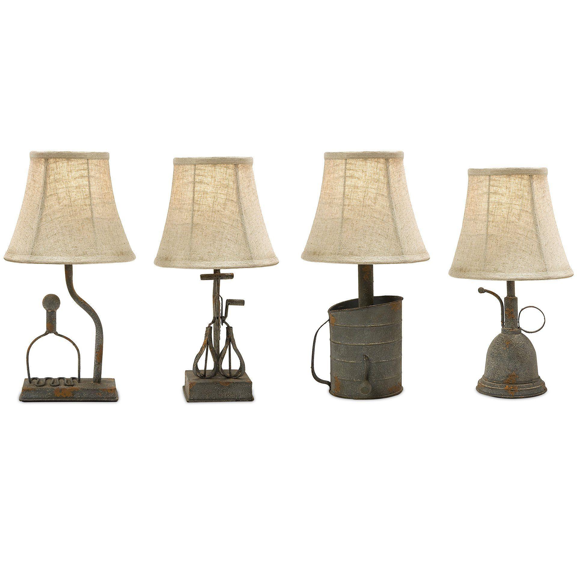 Rustic Metal Tin Can Style Farmhouse Replica Table Lamps