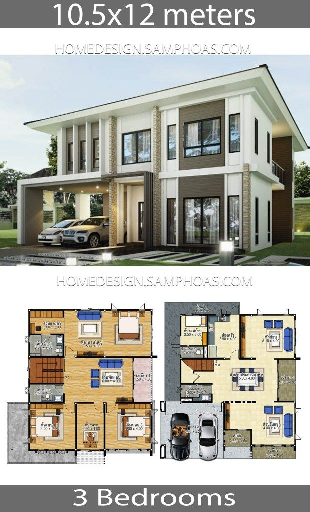 House Plans Idea 10 5x12 With 3 Bedrooms Home Ideas Architectural House Plans Modern Style House Plans House Plans