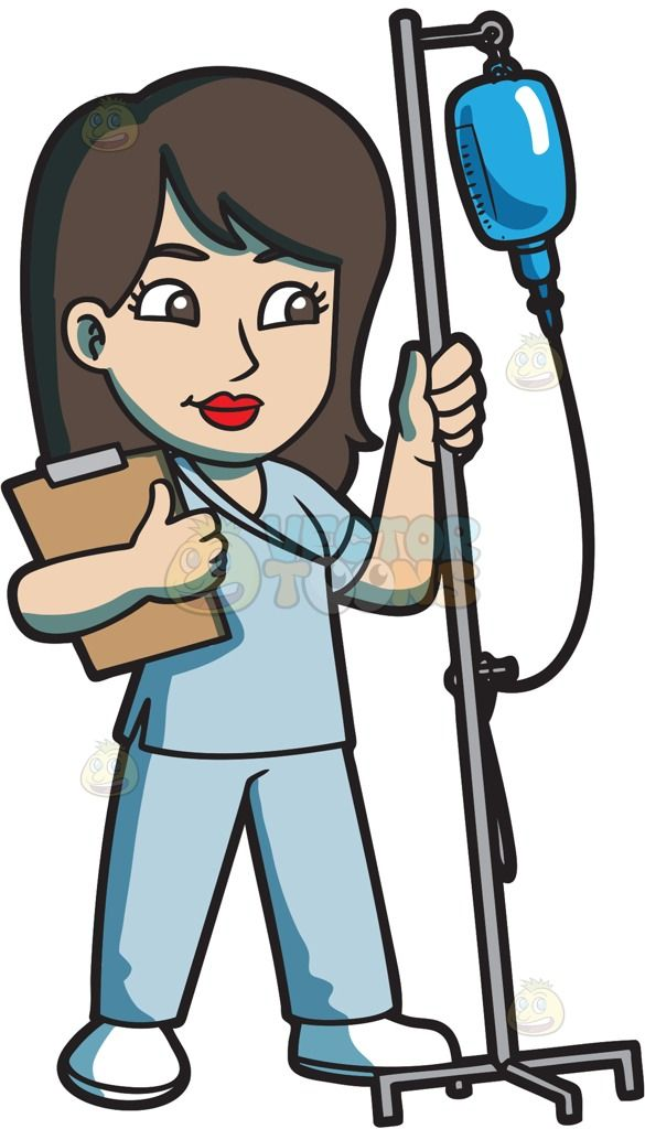 A Female Nurse Transferring An Iv Fluid  Vector -5285