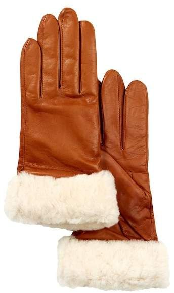 44f38e98164 UGG Dyed Genuine Shearling Trimmed Leather Gloves
