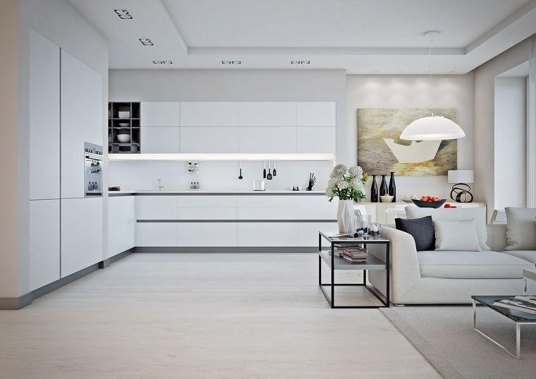 Idea come arredare casa, un open space total white cucina e salotto ...
