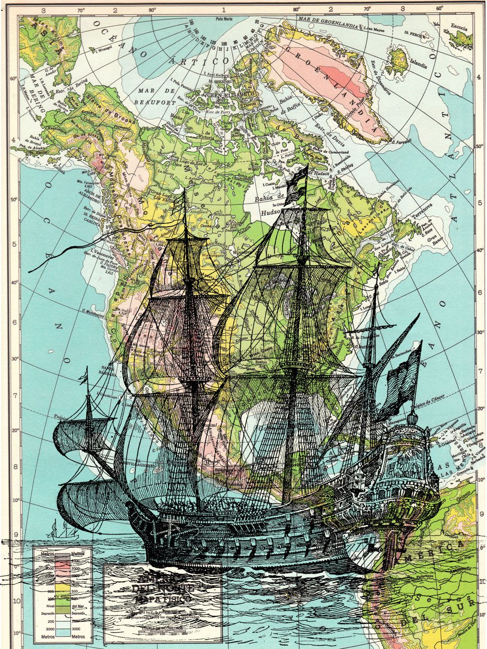 Old Ship On Vintage Map Print The Best Choice For Gifts Sea113b Vintage Book Art Old Book Art Book Art