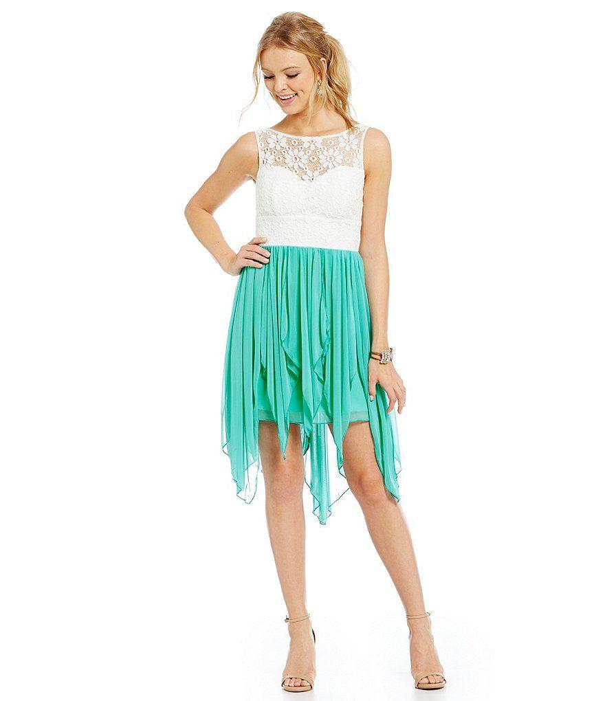 B darlin illusionlacebodice handkerchiefhem dress pretty