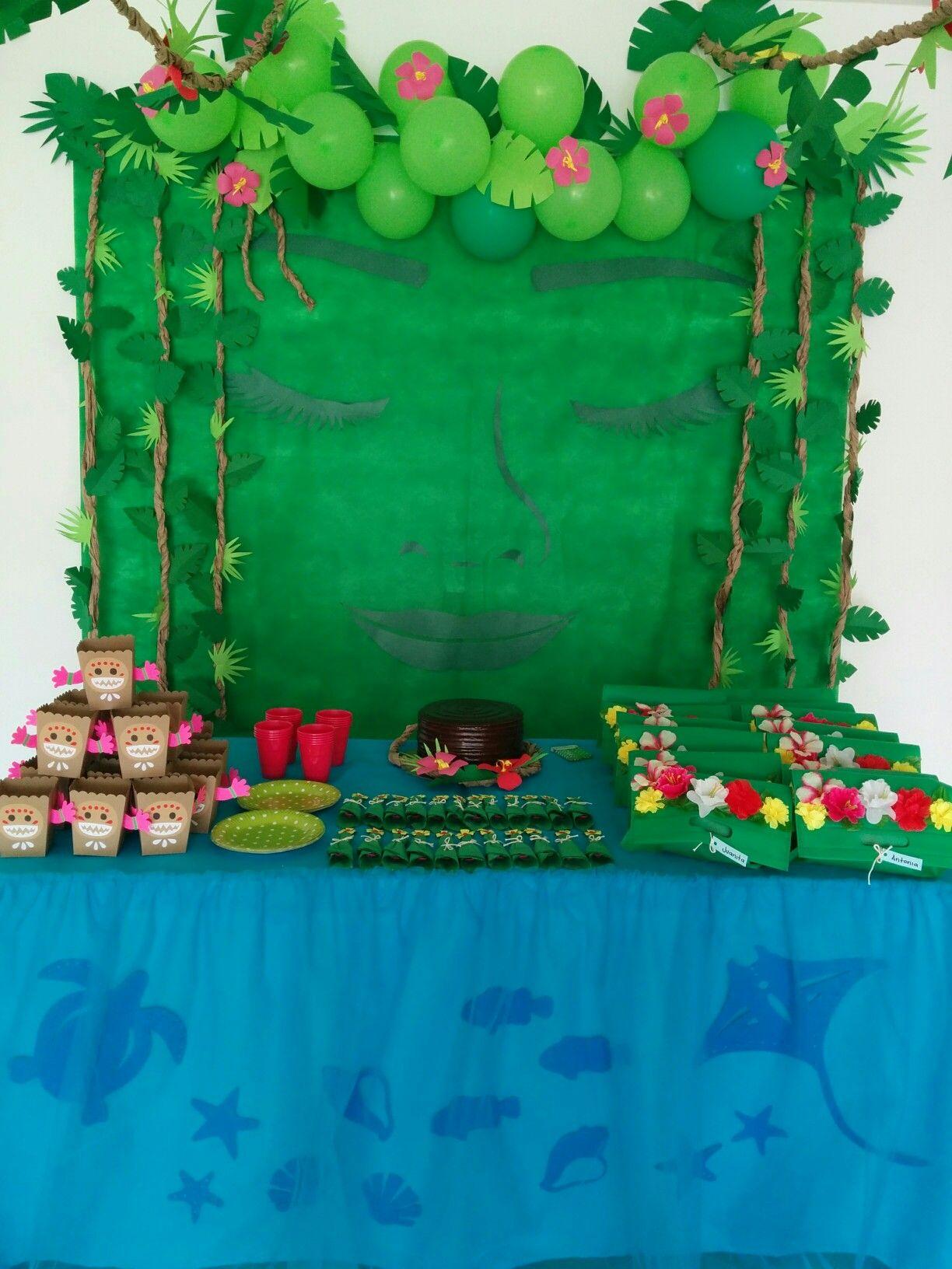 Moana birthday party tefiti moana kakamoros camp life for Backdrop decoration for birthday