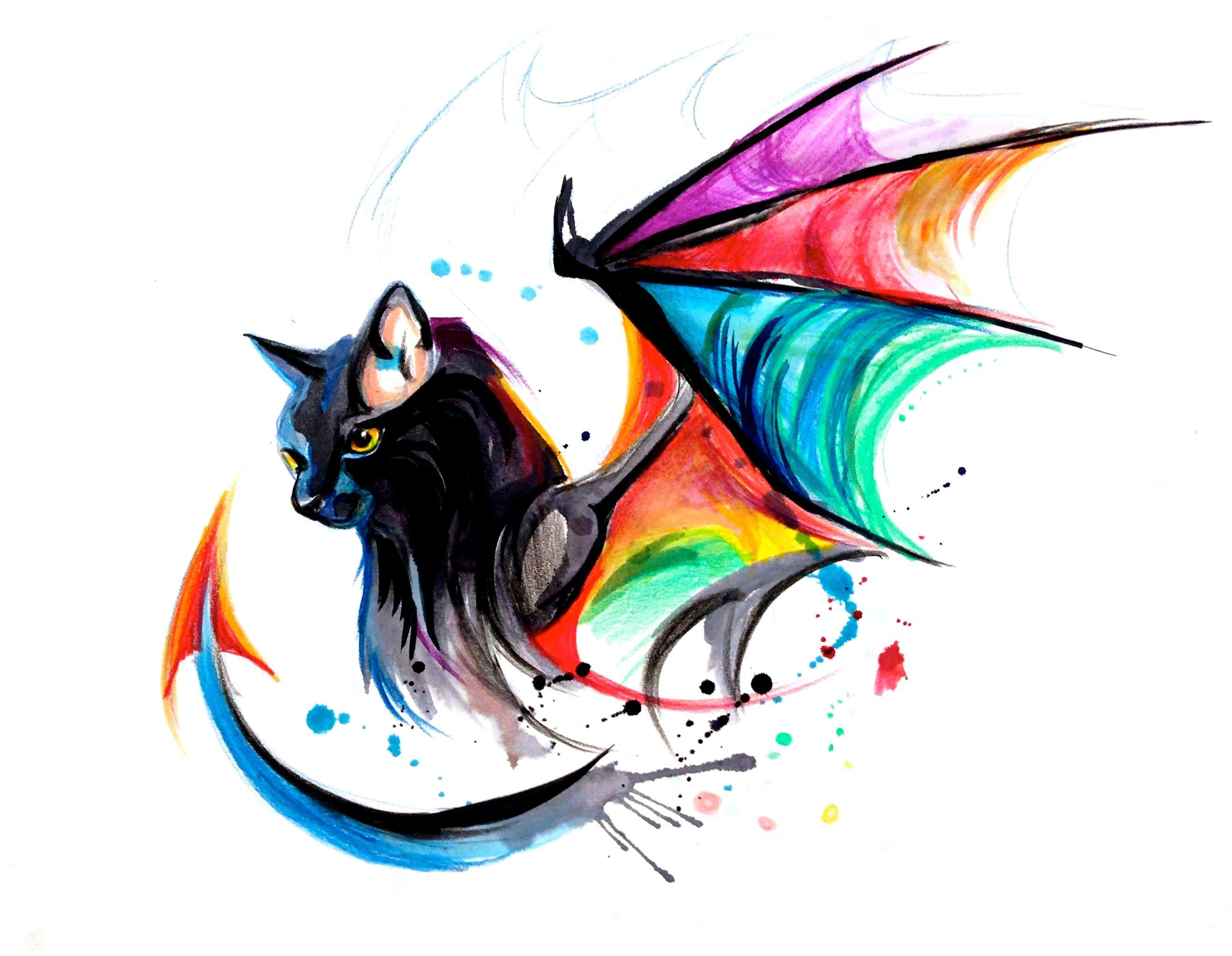 Rainbow Kitty Dragon Tattoo Design Watercolor Dragon Tattoo Cat Art Art