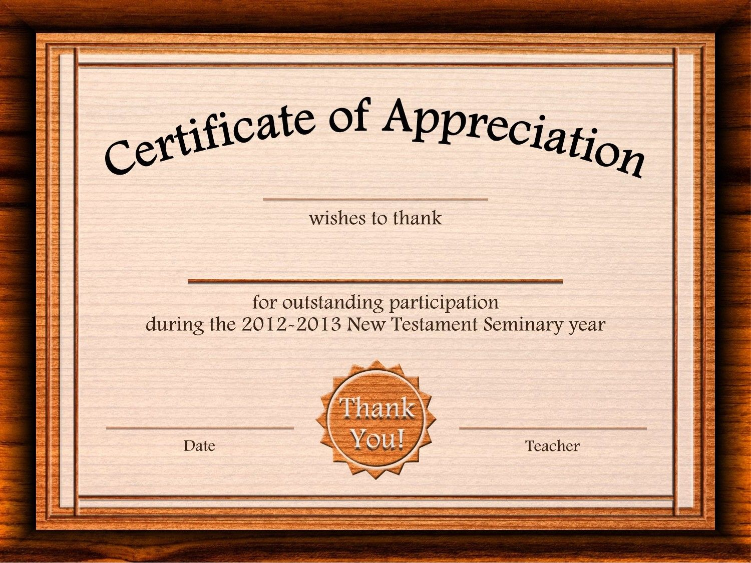 Free Certificate Of Appreciation Templates For Word – Word Template for Certificate